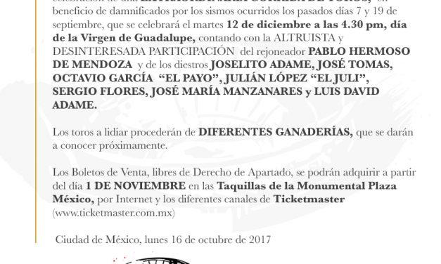Confirmado José Tomás  vuelve en la corrida benéfica Por México