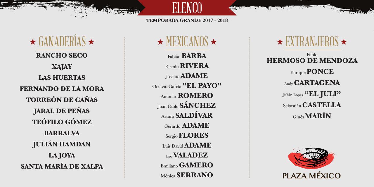 TauroPlaza México da a conocer el elenco y canje de derecho de apartado