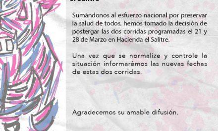 El Salitre posterga las corridas del 21 y 28 de marzo