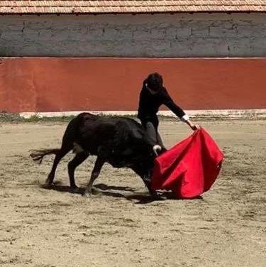 César Carim en la ganadería de Baltasar Ibán